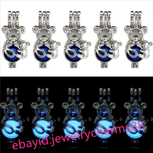 Argent Koala Glow in the Dark Blue lumineux perles cage médaillon G695 Vrac 10pcs