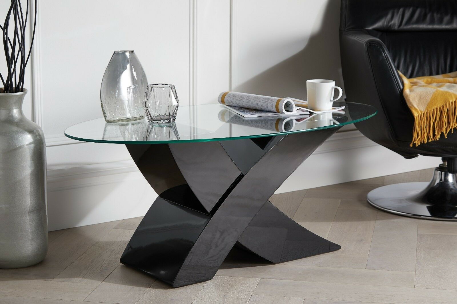 Details about milano designer oval x black high gloss glass coffee table modern furniture