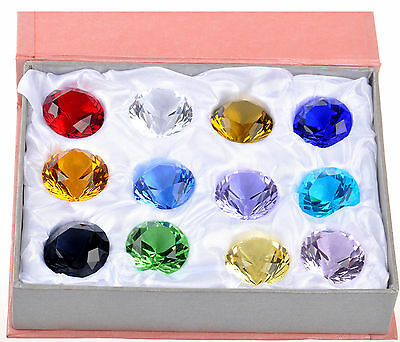 12 Mix Colors Diamond Shape Crystal Glass Paperweights Wedding Favor Decor 30mm