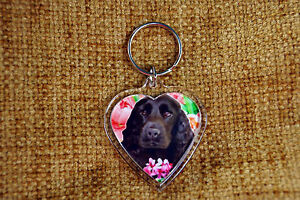 Cocker-Spaniel-Dog-Keyring-Black-Dog-Key-Ring-heart-Birthday-Valentine-Gift