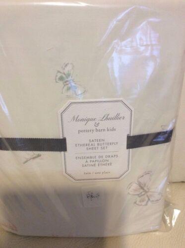 Pottery Barn Kids Monique Lhuillier Twin Sheet Set Ethereal Butterfly Sateen New