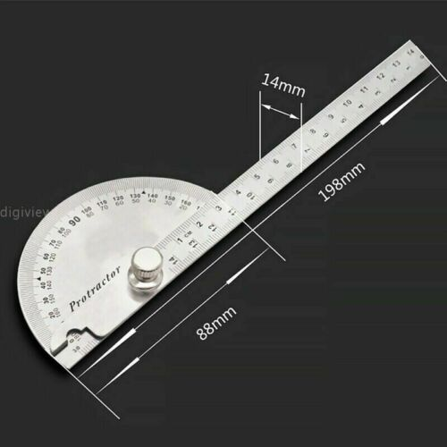 US Stainless Steel Angle Ruler 180° Protractor Round Finder Arm Measuring Tool