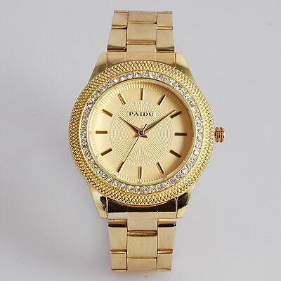 PAIDU Womens Crystal Diamond Bezal Gold Luxury Quartz Steel Band Wrist Watch