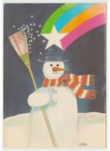 1978-Muneco-por-Nieve-Escoba-Estrella-Iris-Tarjeta-Postal-Navidad-Vintage-doble