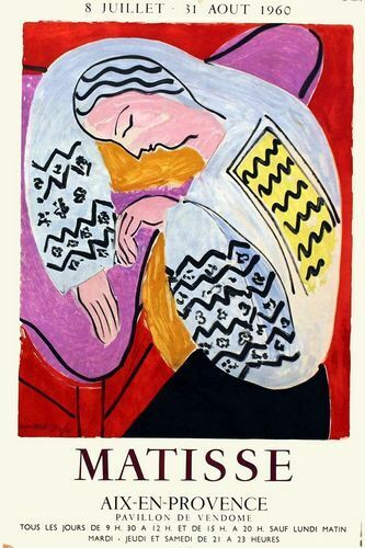 Vintage 1960 Matisse Provence Art Exhibition Poster Print A3//A4