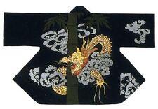 NEW Japanese Traditional Festival Coat HAPPI Black Dragon Kimono Roomwear JAPAN