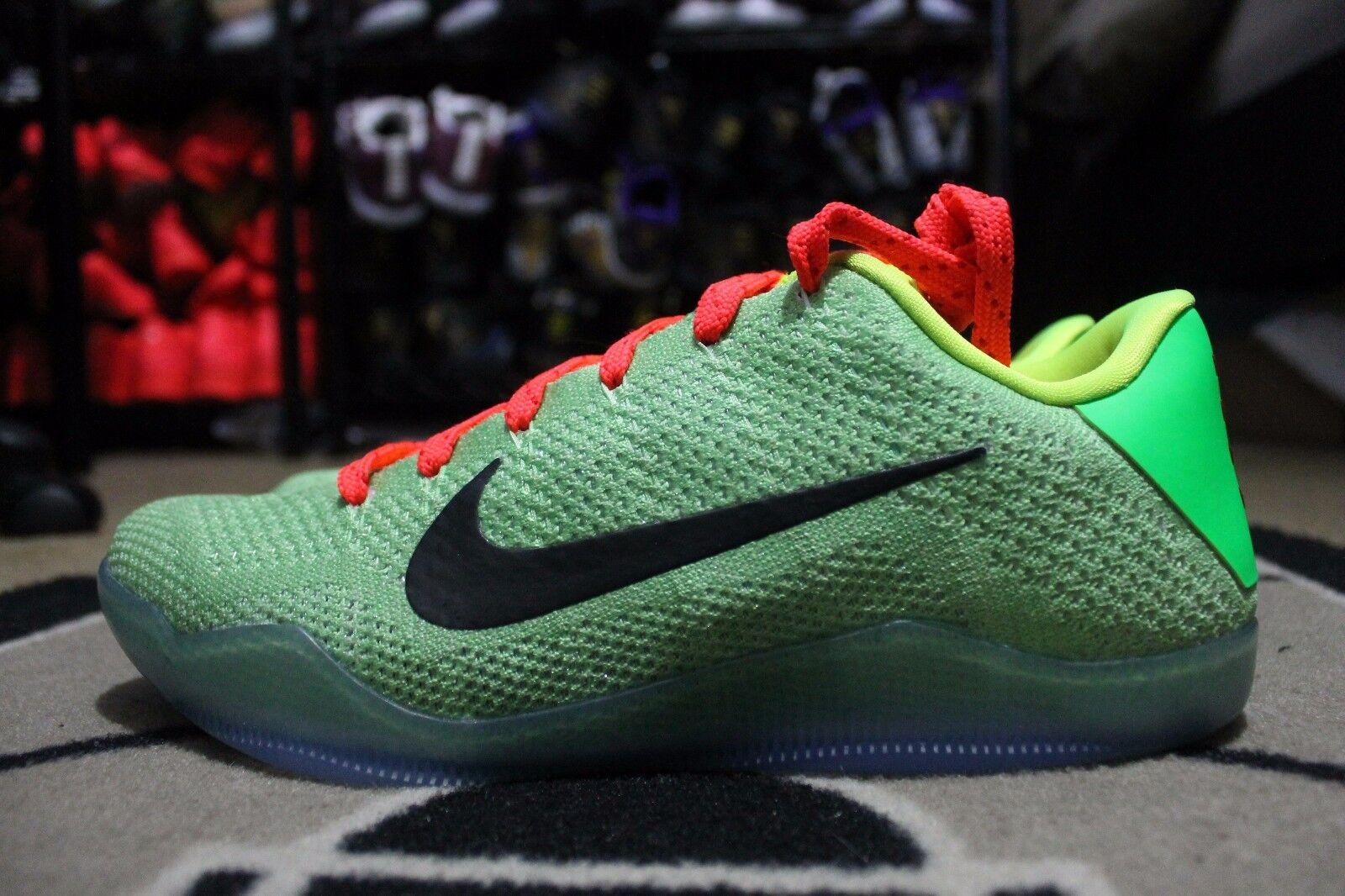 NEW Nike Kobe XI Elite Low Flyknit iD Grinch Neon Green Sz 11