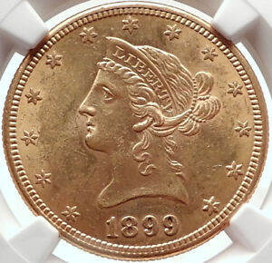 1899 S United States of America GOLD EAGLE $10 Antique Coin NGC MS 61 i73694