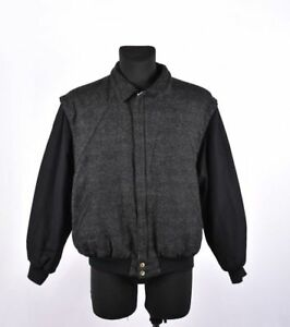 Gant-The-Tweed-Hommes-Vintage-Gris-Fonce-Veste-Aviateur-Taille-M