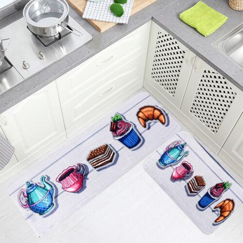 Kitchen Bathroom Carpet Absorbent Slip-resistant Doormats Area Rug Two-Piece Set
