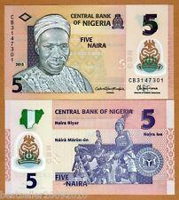 NIGERIA 5 NAIRA UNC POLYMER BANK NOTE # 162