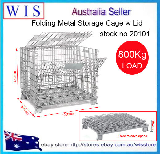 Collapsible Stackable Foldable Wire Mesh with Lid Stillage Gal. Mesh Cages-20101