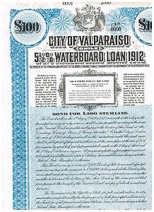 City-of-Valparaiso-Chile-1912-LB-100-Loan-rare-SPECIMEN