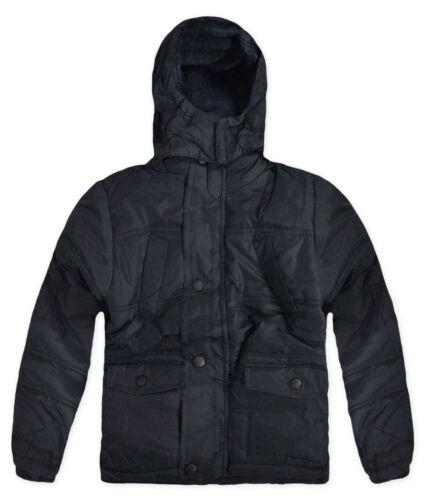 Boys School Jacket Padded Winter Puffa New Kids Fleece Coat Black Navy 4 Years