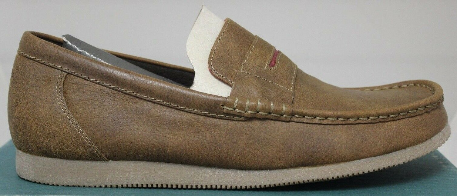 Men's Clarks Telford Brown Leather Slip-On shoes 63596 Brand New In Box