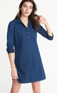 781a09b64dd OLD Navy WOMEN'S Dark WASH Chambray BLUE Denim SHIRT Dress LONG ...