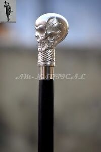Silver-skull-Head-Handle-Wooden-Walking-Cane-Stick-Antique-Style-Vintage-Gift