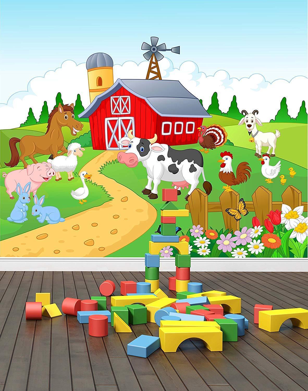 Farm Yard wand Mural foto wandpaper Kids bettzimmer Play zimmer Zoo Animals