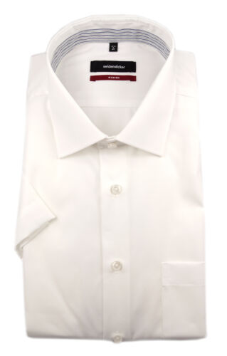 Seidensticker Uomo a Maniche Corte Camicia Business Moderno Bianco Kent Patch 191091.01