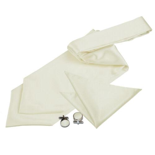 DQT Satin Plain Solid Formal Wedding Mens Self Tie Cravat Cufflinks /& Hanky