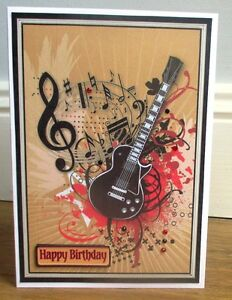 Personalised handmade electric guitar birthday card son grandson image is loading personalised handmade electric guitar birthday card son grandson bookmarktalkfo Choice Image