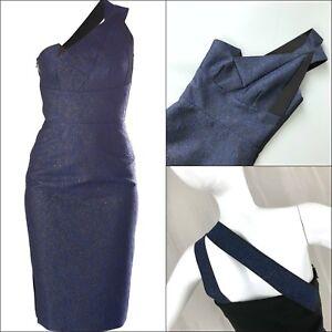 2500-Roland-Mouret-Women-Aglais-Blue-Black-Cocktail-Evening-Dress-Size-UK8-US4