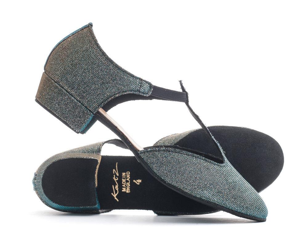 Blue/Gold Mutli Sparkly Glitter Dance Greek Sandal Line Dance Salsa Shoes Katz