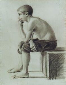 """""""l'enfant Qui Pense"""" Dessin Au Crayon Noir Atelier J. A. Perroud Vers 1890 Attrayant Et Durable"""