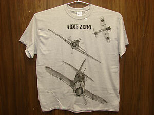Japanese-A6M5-ZERO-WW2-Airplane-T-shirt-w-HUGE-print-on-front-Youth-amp-Adult