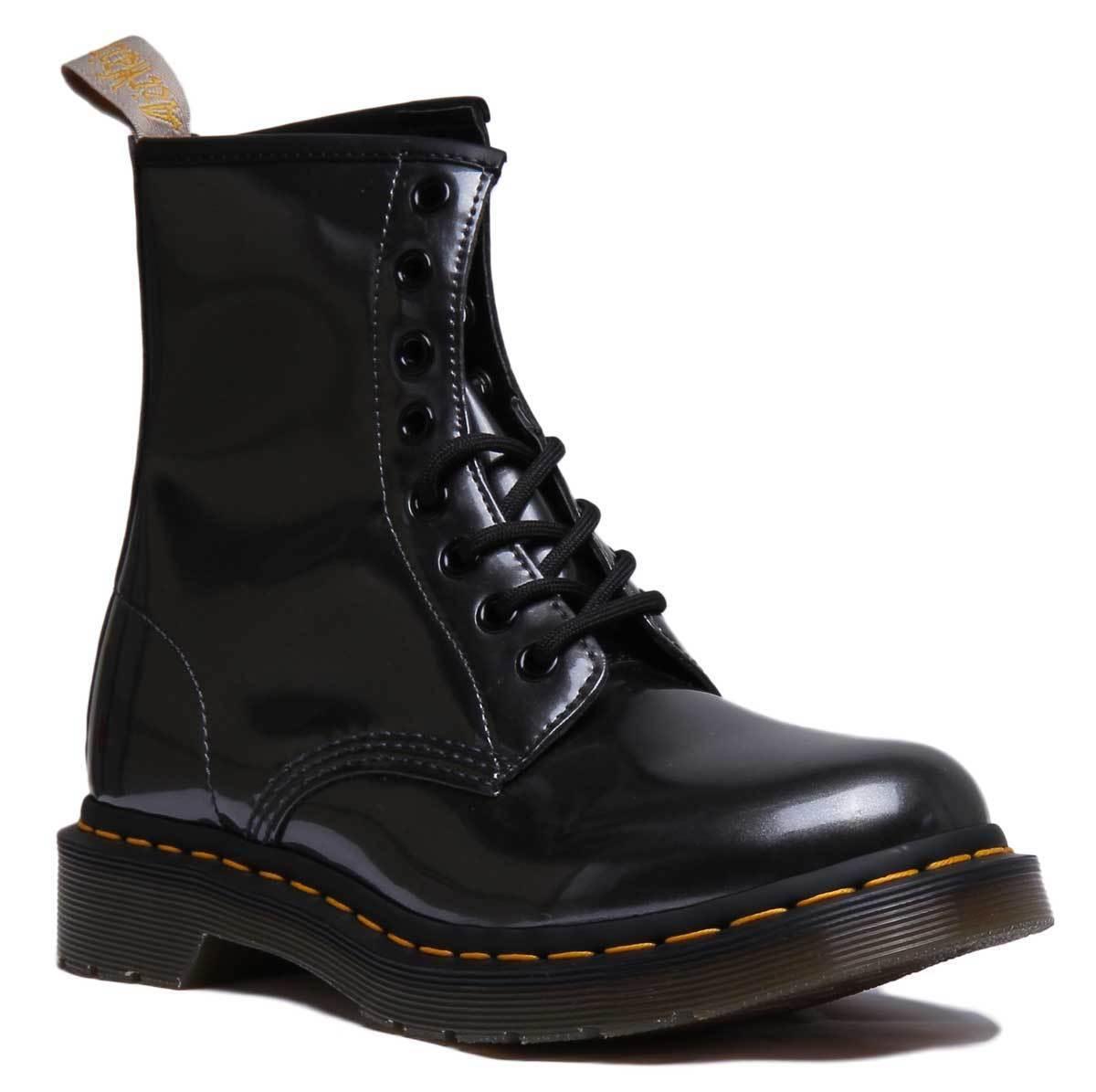 Dr Martens Vegan 1460 Chrome damen Ankle Stiefel In Gun Metal Größe UK 3 - 8