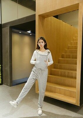 Striped Dungarees Trousers Overalls Pants Cotton Waist Ties Cute Comfy 8 10 12