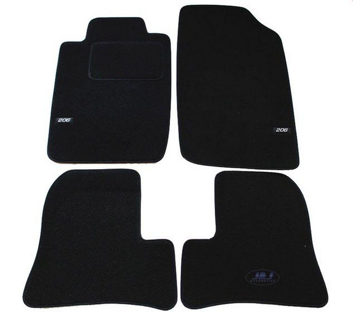 logo tapis de sol noir velours sur mesure pour peugeot 206 206 1998 2005 ebay. Black Bedroom Furniture Sets. Home Design Ideas