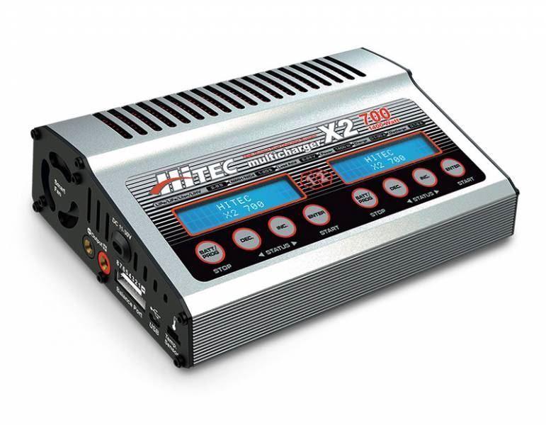 Hitec RCD-X2 700 DC cargador doble puerto con 700 vatios por canal