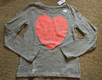 Gap Kids Little Girl L (10) Gray Long Sleeved Graphic Shirt With Heart