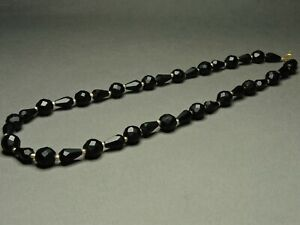 Vintage-Czech-Bohemian-Faceted-Matte-French-Jet-Black-Glass-Bead-Necklace