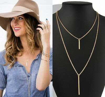 New Sexy Simple Vertical Bar Strip Pendant Double Layer Thin Chain Necklace Gold