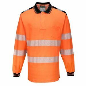 Portwest-PW3-Hi-Vis-Long-Sleeve-Polo-Shirt