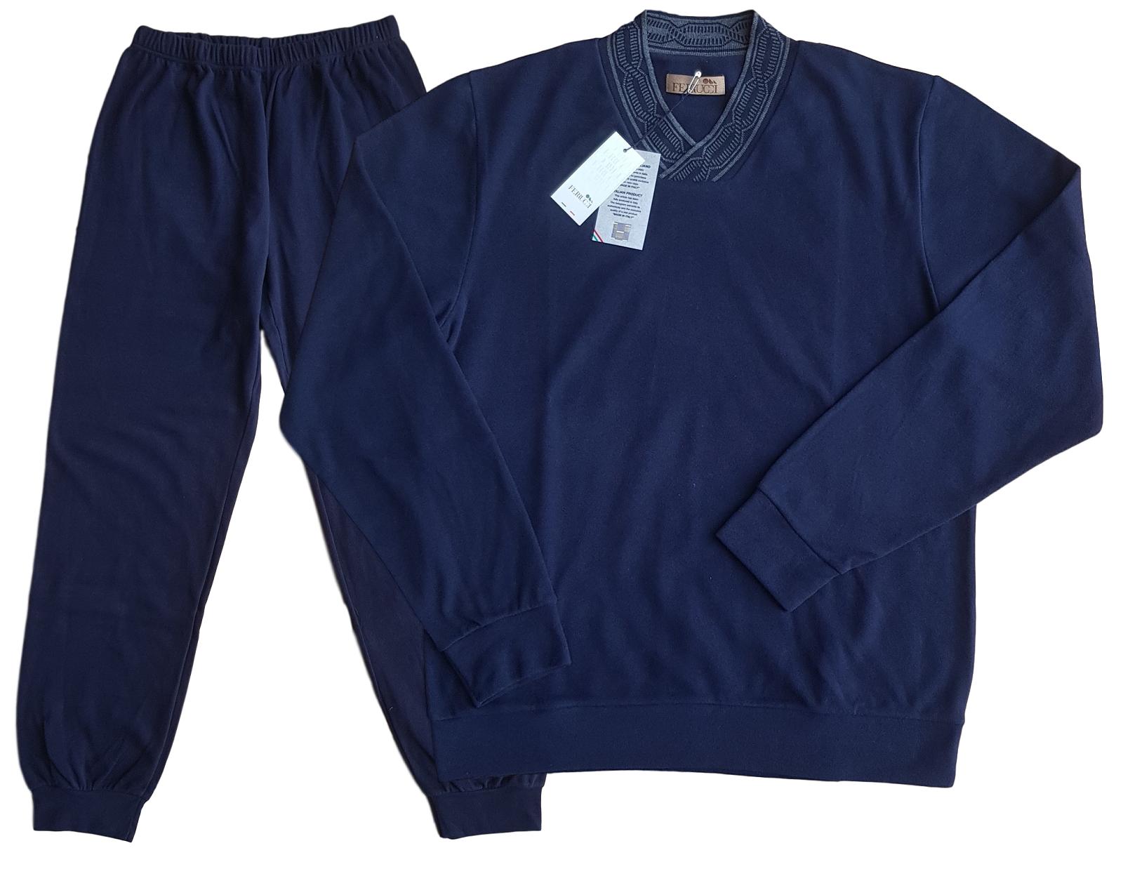 FERRUCCI. Herren Pyjamas Winter aus Microfleece. Mod. Hals V. 2619 Haken Sie