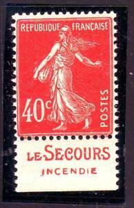 TIMBRE-PUB-LE-SECOURS-40-c-semeuse-N-194-carnet-TTB