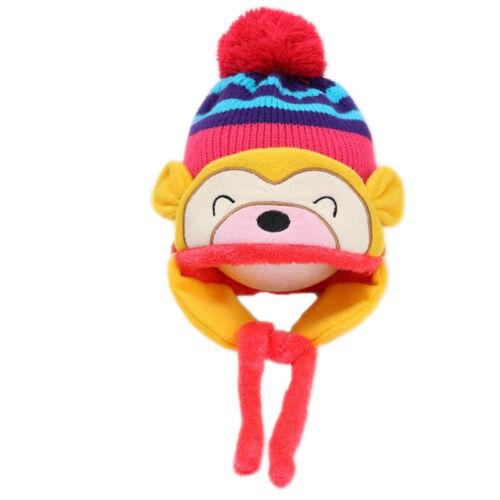 New Baby Toddler Winter Warm Monkey Beanie Hat Earflap Knitted Cap Girl Boy Kids