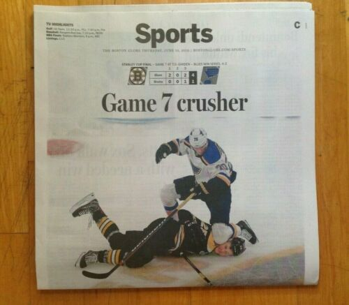 St Louis Blues Stanley Cup Champions Newspaper Boston Globe Blues Win The Finals