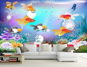 3D goldfishs Corals 88 Wall Paper Murals Wall Print Wall Wallpaper Mural AU Kyra