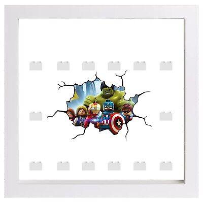 Minifigures Display Case Frame Lego Marvel Hulk Avengers cracked style
