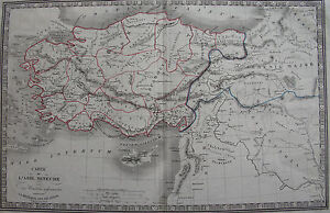 Carte Chypre Israel.Carte De L Asie Mineure Chypre Turquie Syrie Israel Xviii Eme