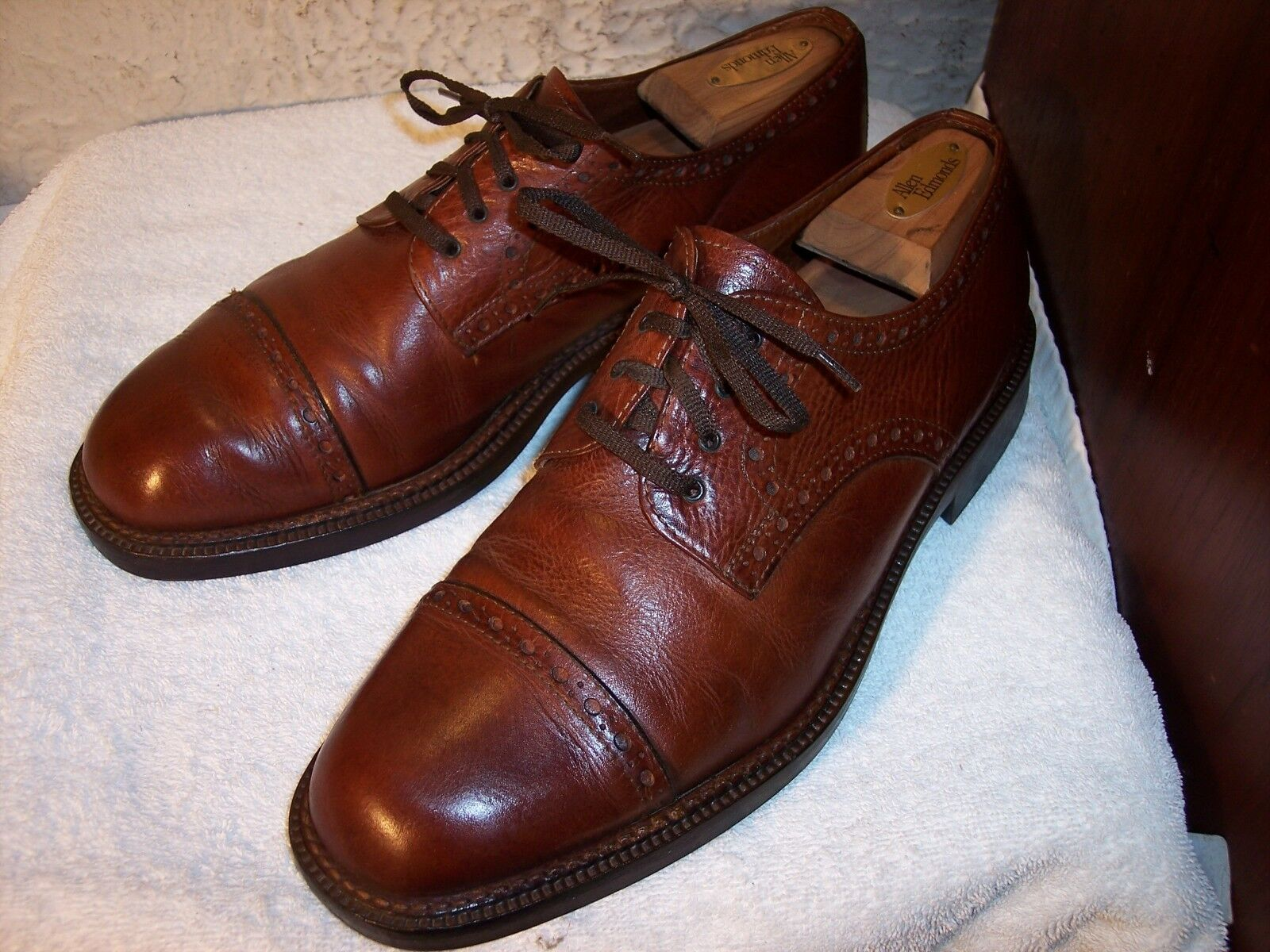 Morris Firenze Bench Made size 10.5 (44) Brown Leather Cap Toe Derby shoes