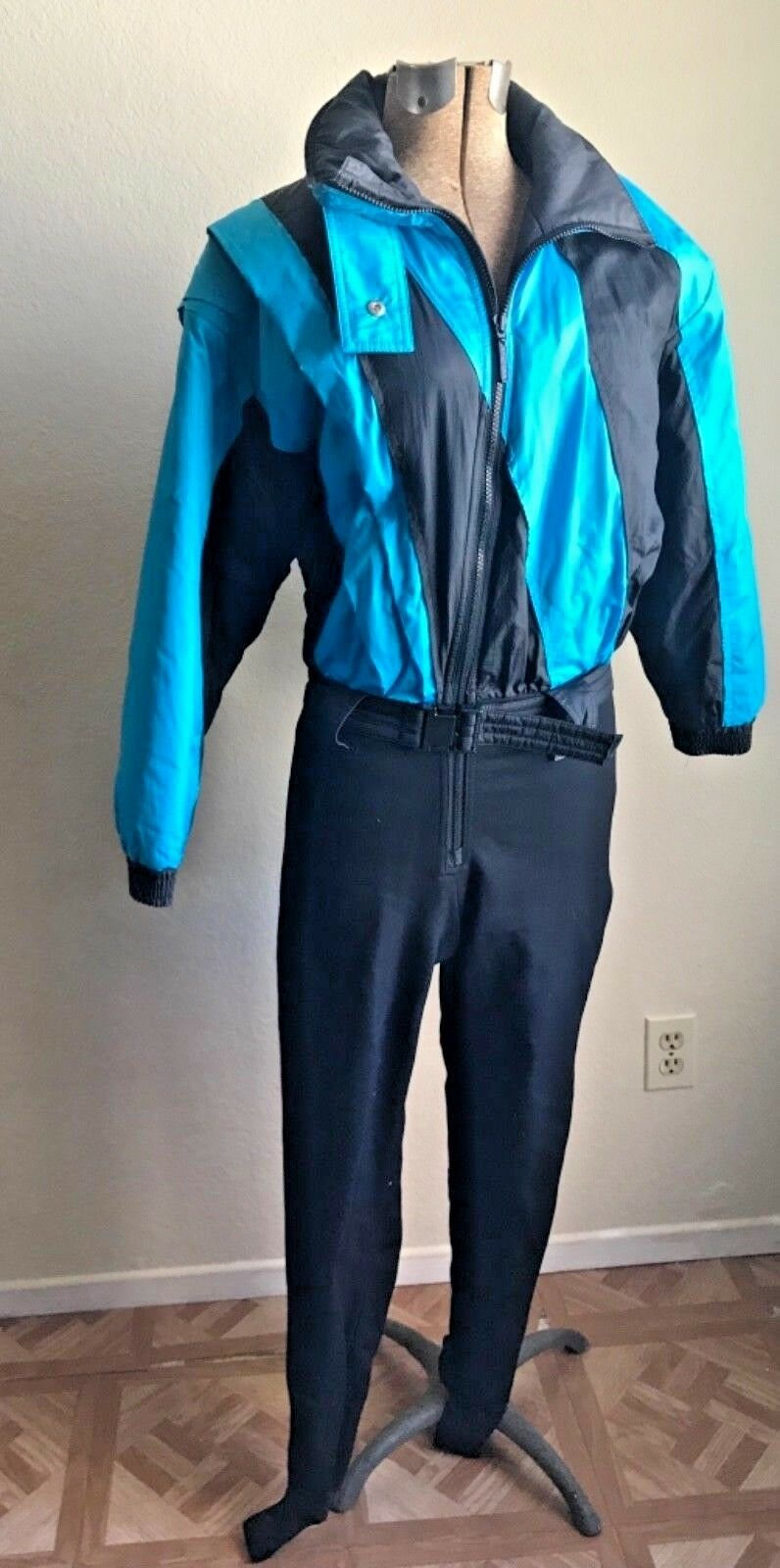 Vintage1980s Ossi Ski Wear Womens Ski Suit Size 6 Snow Stirrups Belted Teal bluee