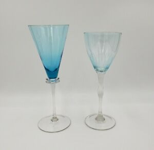 2 Large Unsigned Hand Blown Blue Wine/Water Glasses EXCELLENT