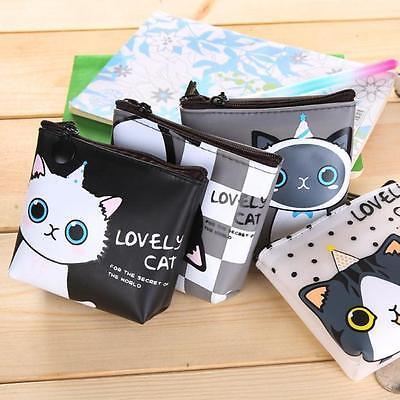 Women Girl Cute Cat Face Tail Coin Purse Kids Wallet Bag Change Pouch Key Holder