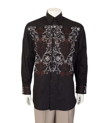 Men/'s 100/% cotton casual shirt with embroidered  design by Milano Moda  SG37