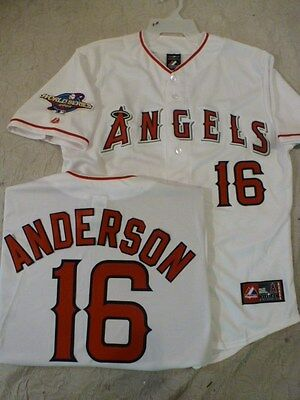 3520 Licensed MAJESTIC Angels GARRET ANDERSON 2002 WORLD SERIES Sewn Jersey